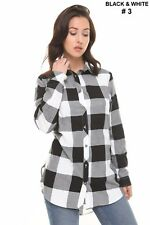 7746c081 Womens Check Shirt Ladies Long Sleeve Plaid Check Summer Mini Dress UK Size  8-16