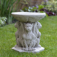 GARGOYLE BIRD BATH FEEDER Hand Cast Stone Garden Ornament Statue ⧫onefold-uk