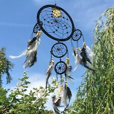 New Wooden Beaded Long Black Feather Dream Catcher Native American Mobile