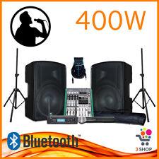 Kit completo per karaoke dj impianto cassa attiva amplificata mixer microfono