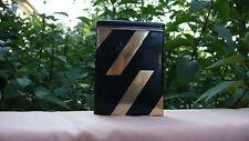 ESTATE ART DECO STERLING 14K GOLD BLACK ENAMEL CIGARETTE CASE CARD HOLDER