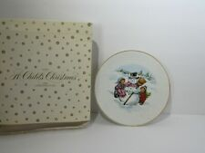 """1986 Avon A Child's Christmas Porcelain 8"""" Plate Trimmed in 22K Gold"""
