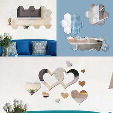 24pcs Hexágonos Corazón Espejos Adhesivo Decorativo PET de Pared para Hogar Baño