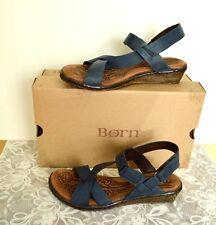 NEW Born Esmeralda 7/38 Wedge Sandals Blue Leather Strappy Hook Loop Buckles