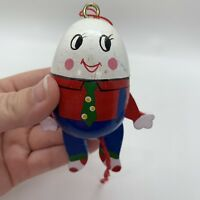 Vintage Humpty Dumpty Ornament Christmas Pull String Wood
