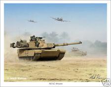 "M1A2 Abrams Tank Mark Karvon Military Art Print - 11"" x 14"""
