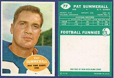 1960 Topps Pat Summerall Football Card #77 NRMT Giants