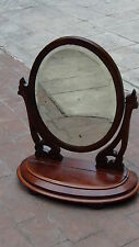 ANTIQUE FRENCH WALNUT VICTORIAN TABLE TOP SWIVEL VANITY DRESSER MIRROR WITH BOX