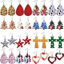 Faux Leather Teardrop Earrings Lot of 16 Pairs Wholesale Christmas Jewelry BULK