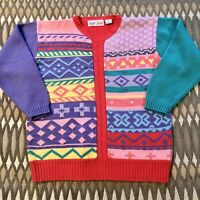 Vintage Color Block  Slouch Sweater Preppy Size M Kawaii 80s 90s Fairy Kei