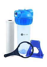 """10"""" Clear Carbon Water Filter 1"""" Brass ports. Suit House, Caravan, Tank, Boat"""