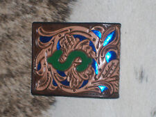 MENS WALLET CUSTOM CARVED FLORAL TOOLED FILIGRE BLUE LEATHER WESTERN RODEO