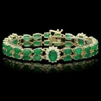 19 Ct Oval Emerald & Diamond 14k Yellow Gold Over Valentine Gift Tennis Bracelet