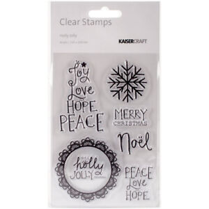 Kaisercraft Holly Jolly Clear Cling Stamps 6 pcs. Christmas Sentiments Snowflake