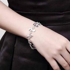 Women Fashion Silver Plated Charm Cute Music Note Chain Bracelet Bangle 1pc