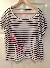 Michael Stars Black & White Striped Shirt With Anchor Print One Size Fits Most