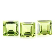 5 PIECES OF 2mm SQUARE-FACET LIGHT-GREEN NATURAL AFGHAN PERIDOT GEMSTONES