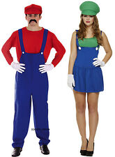 Mens Mario + Ladies Luigi Couples 80s 90s Plumber Fancy Dress Costume Outfit
