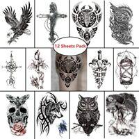 12 pcs Temporary Tattoo Masculine Stickers Waterproof Body Art Eagle Skull Cross
