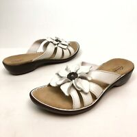 ✅❤️✅@ Clarks Bendables Ina Admire Women White Leather Slides Sandals 10 M Floral