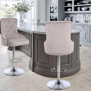 CGC Mink Velvet Chrome Stud Button Back Chaise Adjustable Bar Stool Tall Chair