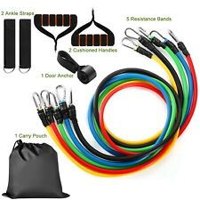 11PCS Resistance Bands Set Workout Bands 100LBS with Exercise Fitness Tube Bands