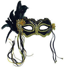 Black Metallic Ball Mask With Feather Fancy Dress