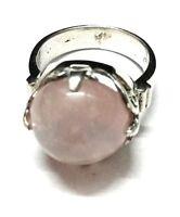Rose Quartz,Natural Gemstone 925 Sterling Silver Ring Size 7