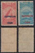 BRAZIL 1931 ZEPPELIN Sc C26-C27 RHM Z10-Z11 FULL SET HINGED MINT CV$225.00