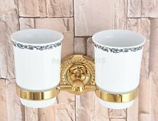 Gold Color Brass Bathroom Double Tumbler Cup Holder Toothbrush Holder lba597