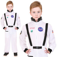 CHILDS ASTRONAUT COSTUME US SPACE SUIT KIDS SPACEMAN FANCY DRESS WHITE JUMPSUIT