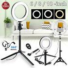 """6""""/8""""/10'' Dimmable LED Ring Light Tripod Stand Selfie Mini Circle Lamp kit M3J2"""