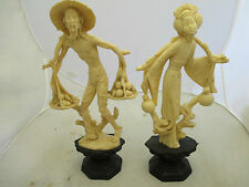 IVORY COLOR Resin FIGURINES ASIAN WOMAN & MAN CARRYING FOOD & WATER VINTAGE