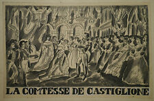 Hermoso Dibujo Antiguo Tinta Comtesse Castiglione Napoleón III LUIS TOUCHAGUES