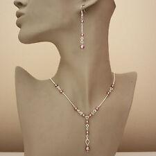 Rose pink pearls silver necklace long earrings wedding bridesmaid jewellery set