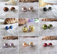 Real Natural 7-8mm Freshwater Cultured Pearl 925 S Silver Stud Earrings
