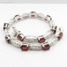 925 Solid Sterling Silver GARNET Natural Gemstone Jewelry Comfort Fit Bracelet