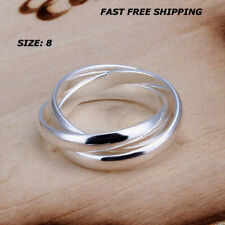 Women Jewelry 925 Sterling Silver Plated Size 8 Finger Thumb 3 Hoop Ring