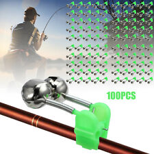 100Pcs Fishing Bite Alarm Green Clip Twin 2 Bells Double Rod Fishing Tackle Tool