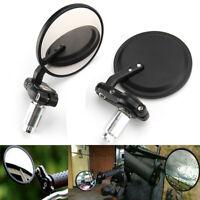 "Black Handle 7/8"" Bar End Motorcycle Rear View Side Mirror For Bobber Cafe Racer"