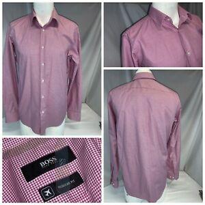 Hugo Boss R Fit Shirt 15.5 35 Red Houndstooth Cotton Turkey NWOT YGI F1-404