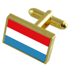 Luxembourg Gold-Tone Country Flag Cufflinks Select Gift Pouch