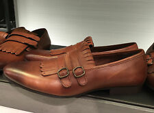 ZARA NATURAL-COLOURED LOAFERS WITH BUCKLES AND FRINGING EU 44/US 11 REF.5103/102