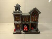 Holiday Time Porcelain Lighted Fire Station House Vintage Victorian 2014 hd435