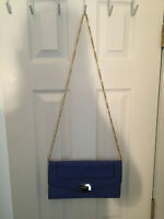 Urban Expressions Purse Certified Vegan Leather-Pressed Chain Strap Navy Blue
