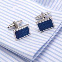MEN'S SILVER PLATED CUFFLINKS BLUE CRYSTAL DESIGN MENS WEDDING CUFF LINKS