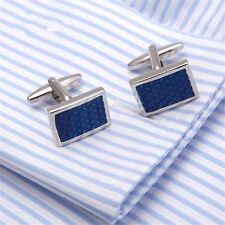MEN'S SILVER PLATED CUFFLINKS BLUE CRYSTAL DESIGN MENS WEDDING CUFF LINKS