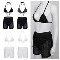 Women Sparkle Fishnet Mesh Swimwear 2Pcs Bra Bikini Set Bathing Suit Beachwear