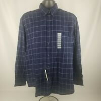 Men's John Ashford Blue Button-Down Plaid 100% Cotton Dress Shirt Size M NWT
