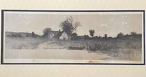 J. Haller Signed Etching In Antique Gilt Filagree Frame